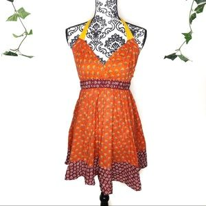 Anthropologie Orange Floral Babydoll Halter Top